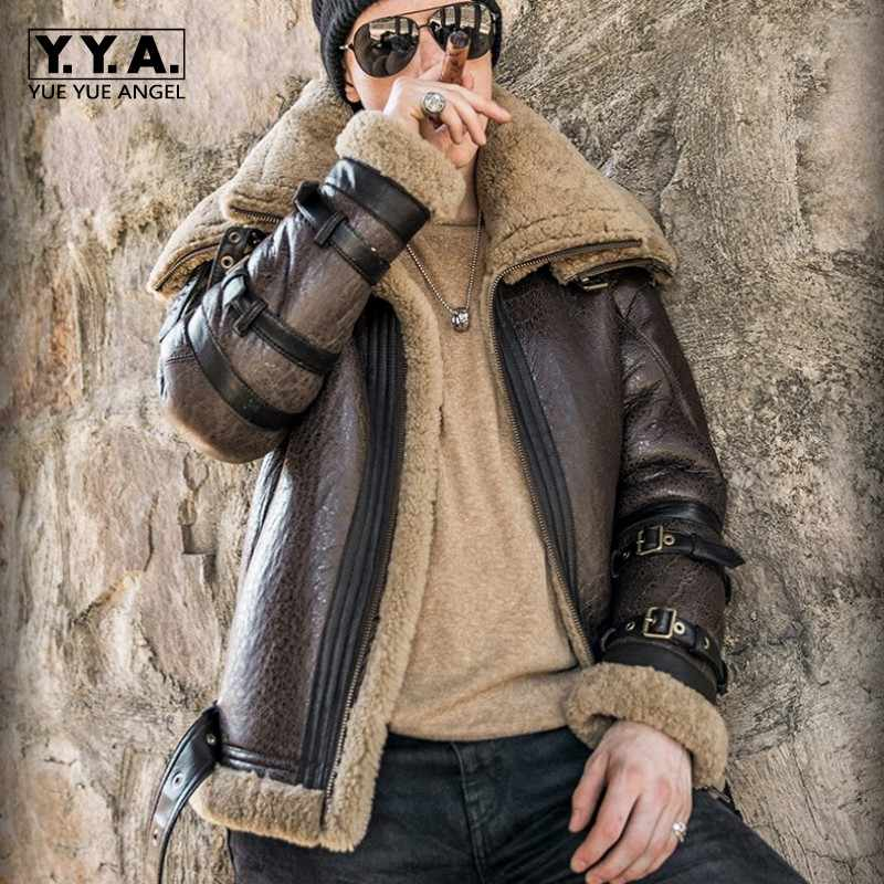 Italy Luxury Men Winter Shearling Real Fur Jacket 6XL Biker Sheepskin Genuine Leather Coat Thick Warm Fur Lining Military Jacket