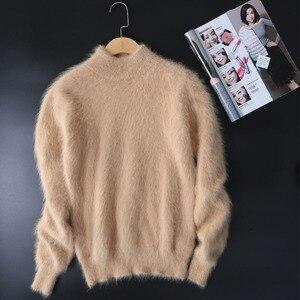 Image 5 - Nieuwe echte nerts kasjmier trui vrouwen 100% nertsen kasjmier truien met coltrui kraag gratis verzending JN465