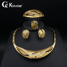 Fashion wedding jewelry sets Women Bridal Dubai gold-color African beads accessories exaggerate Necklace Bangle earrings Ring