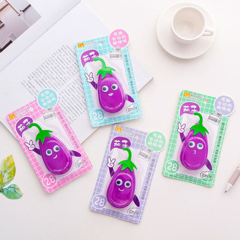 14M Creative Eggplant Correction Tape Material Escolar Cute Kawaii Stationery Office Promotional Gift Papelaria Novelty Item