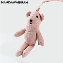 HANDANWEIRAN 1Pcs 17CM Lovely Stuffed Plush Animals Toys Kawaii Burlap Bear Bag Pendants Keychain Toy Kids Gift PP Cotton