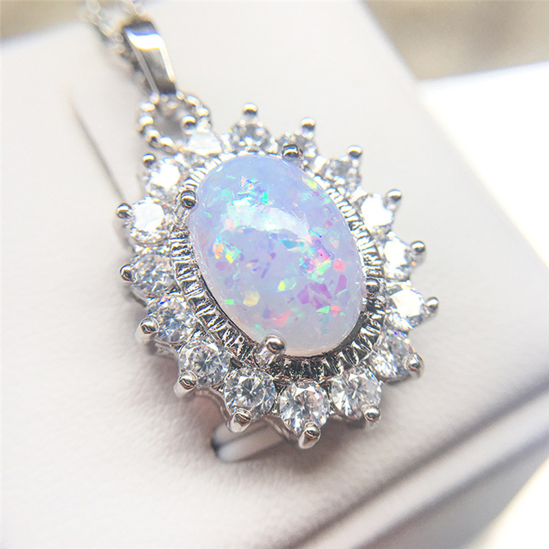 ROMAD Opal Necklace for Women Fire Stone CZ Crystal Necklace Female Oval 4 Claws Wedding Engagement Necklace Charms Jewelry R4 цена 2017