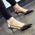Verão finos saltos altos apontou bombas PU escavar sandálias mulheres temperamento sexy elegante prata moda simples sapatos de grife