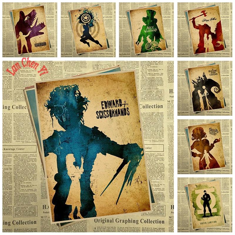 Filmová originalita Nostalgický matný papír Kraftový plakát Kancelářská dárková místnost Jídelna Domů Dekorace nálepky na zeď Design