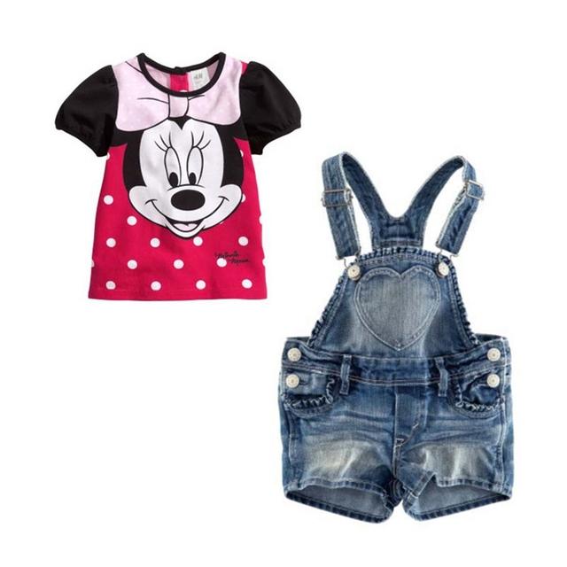 Bonito dos desenhos animados roupa dos miúdos conjuntos para meninas t-shirt + Jeans Denim Shorts com suspensórios ternos das crianças criança roupa do desgaste