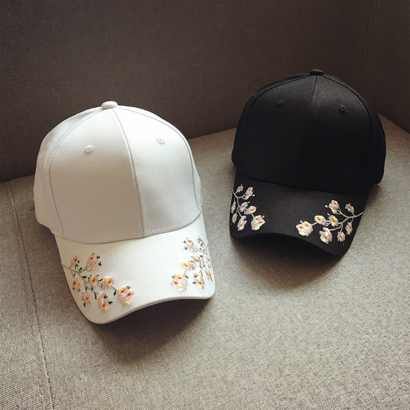 cap women black pink baseball cap women black flowers white caps womens cap women baseball caps embroidery (12)