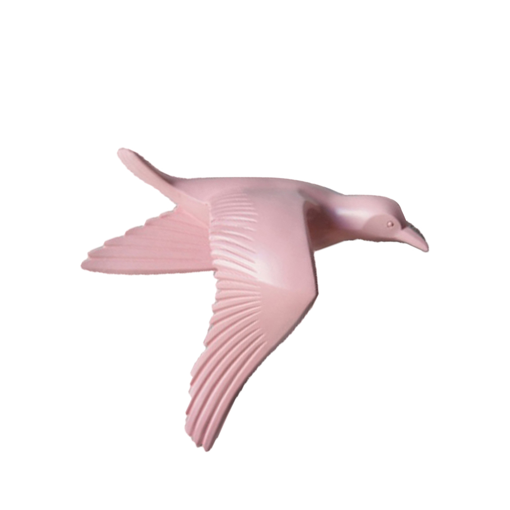 5pcs Home Decorative Resin 3D Handmade Flying Seagull Birds Wall Art Sculpture Hanging Decor Pink