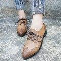 Ботинок квартир женщин Старинные Оксфорд Обувь Для Женщин Указал Плоские Из Натуральной Кожи Женская Обувь Бренда Плоские Туфли Женщин