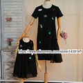 Family fitted Fashion Family clothing Mom and daughter female women girl dress hand-sequined princess dress Large size 3XL 4XL