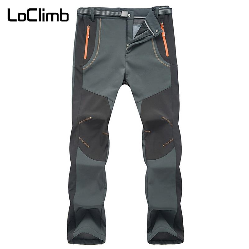 LoClimb Men's Winter Outdoor Hiking Pants Men Camping Trip Climbing Sport Trousers Waterproof Fleece Softshell Ski Pants AM110
