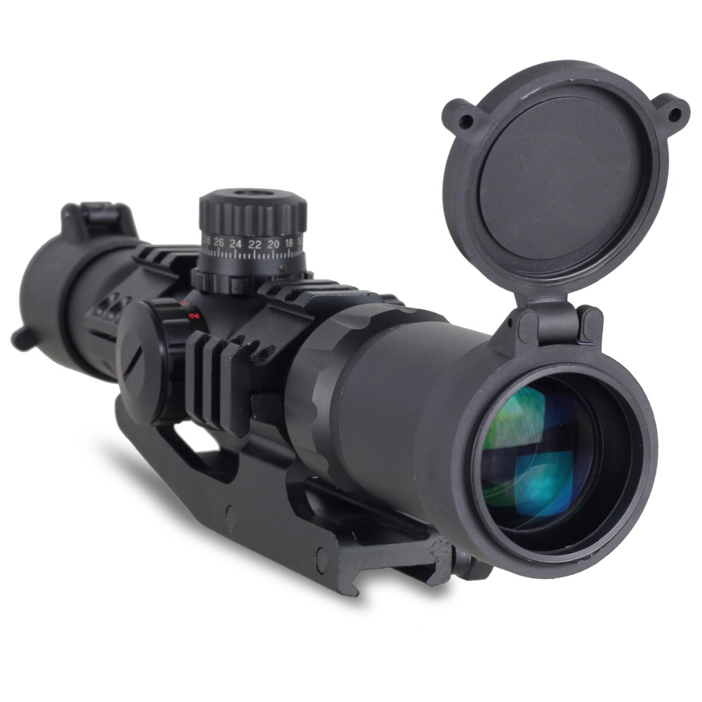 Tactical 1.5-4x30 Tri-illuminated (Red/Green/Blue) Mil-dot Reticle Rifle Scope riflescope Sight  free shipping 4x 30mm red green mil dot reticle rifle scope with gun mount black 3 x ag13 1 x cr2032