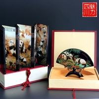 6 panda fan desktop screen small screens to Sichuan Chengdu tourism souvenir ornaments gift gift