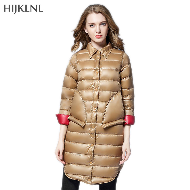 HIJKLNL   Down     Coat   Women 2019 New Autumn and Winter Fashion Europe Style Mid-long Single-breasted   Down   Jacket Overcoat LH1286
