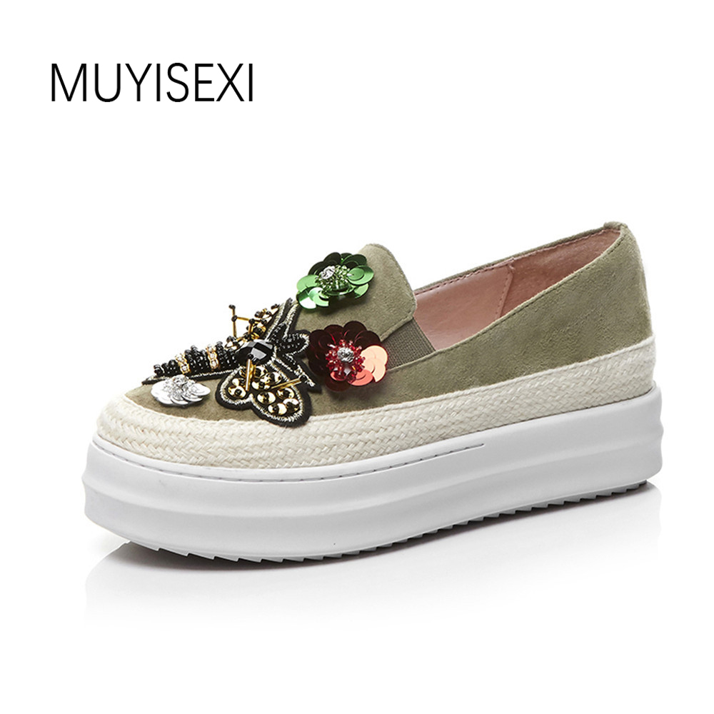 Фотография MUYISEXI Genuine Leather with Bling String Bead Butterfly Flat Platform Height increase Women Shoes Loafers Green Black BB07