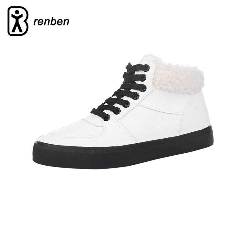 RenBen 2018 Warming Plush Women Casual Shoes Winter High upper Flats Leather Plus cashmere Female Shoes