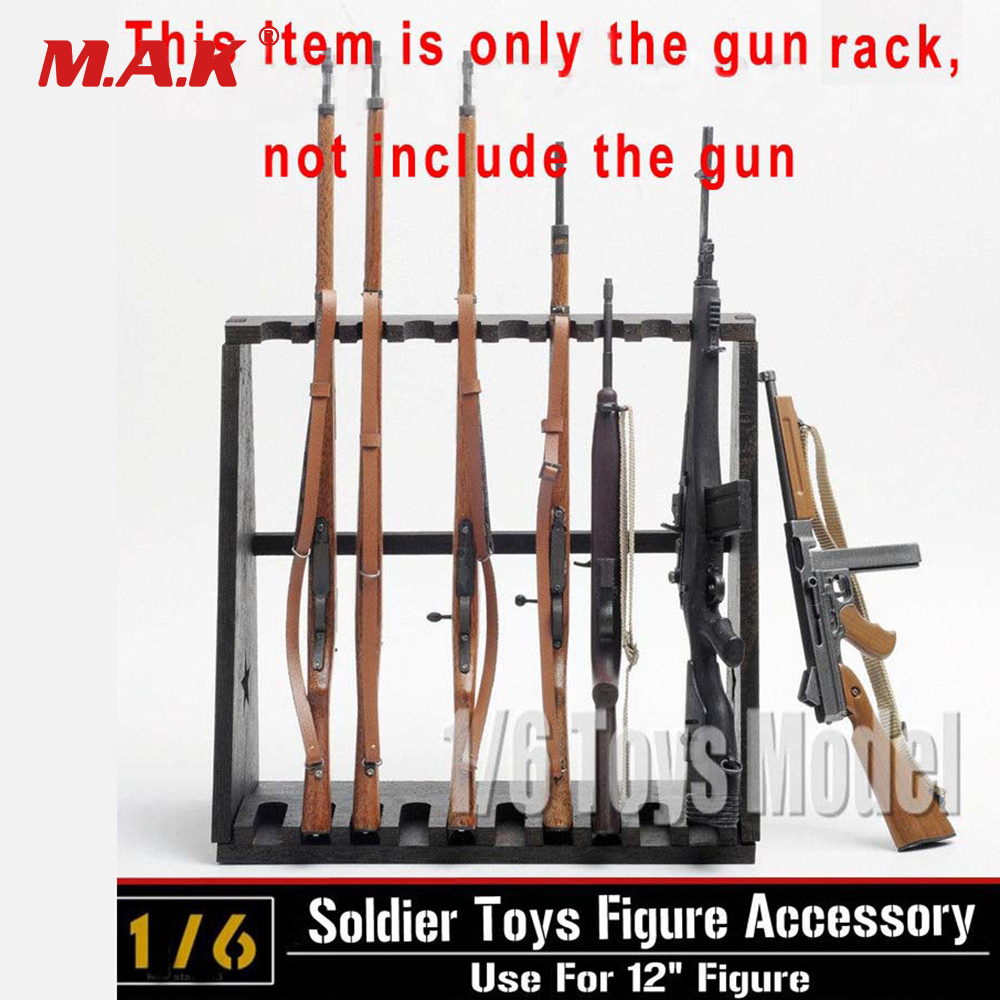 Hot Figures Accessory 1:6 DRAGON Model Wood Storage Gun Rack Modle Display Stand for 10-Gun for 12 Figures