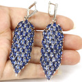 Long Big Created Tanzanite, White Cz SheCrown Woman's Party   Silver Earrings 75x19mm