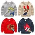 2016 Nova outono Inverno roupas de bebê Menino Camisolas Crianças Camisolas Crianças Outerwear Roupas meninas Camisola de Malha O Pescoço animal