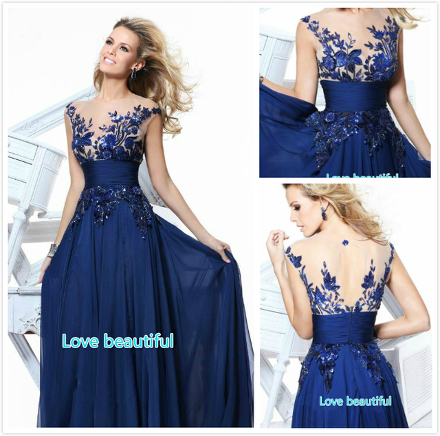 Free Shipping 2017 Royal Blue Decals Elegant Wedding Dress Las Party