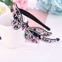 Korean Fashion Simple Headwear Cute Shiny Vintage Butterfly Rhinestone Hairbands for Women Trendy Full Diamond Hair Accessories