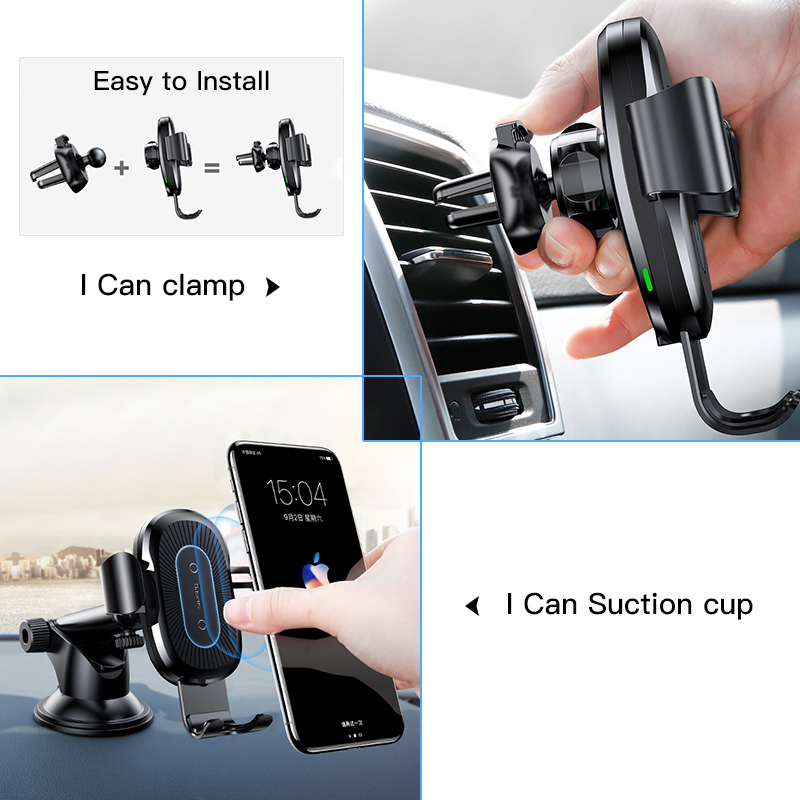 Baseus 2 in1 Qi Wireless Car Charger for iPhone XS Max Samsung S8 Quick Wireless Charging Charger Car Mount Mobile Phone Holder 2