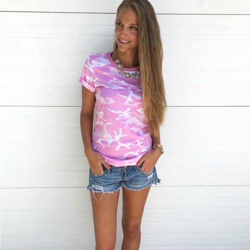 Summer T-shirt female blusa tumblr camouflage prints tops 2017 short sleeves women t shirt military uniform casual top tees