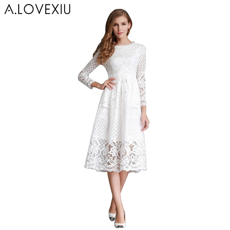 Aliexpress.com : Buy white lace dress long sleeve casual ...