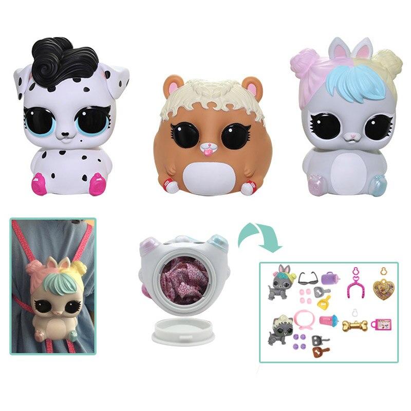 Surprise Dolls Piggy bank backpack Action Figures Toys Cartoon 2 Random style lol dolls For Children Christmas Gift