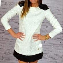2016 Yeni Moda hanım Sonbahar Kış Elbiseler Casual Slim Beyaz PU Ekleme Mini Ofis Elbise Uzun Kollu Patchwork Kısa elbise