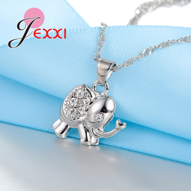 Girls Silver Elephant With Clear Rhinestones Necklace and Earrings Set