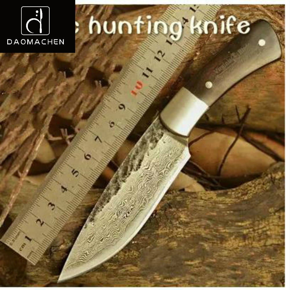 цены  Free Shipping Hunting Knife Damascus steel Knife Nordic Hand Forged Knife Sharp Knives Pattern Steel with High Hardness