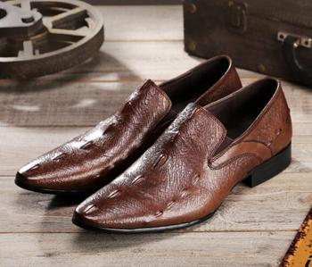 Autumn Men Crocodile pattern formal dress shoes lace-up pointed toe oxford Genuine leather office Business  shoes men size 38-46
