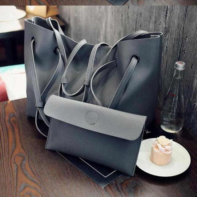 2pcs/Set Fashion Women Composite Bag PU Leather Shoulder Bags Women Clutch Handbag Set Large Tote Female Shopping Bag CS032