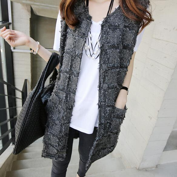 autumn fashion spring new Women Korean slim thin plaid long cardigan vest jacket female cardigan
