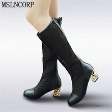 plus size 34-46 Women Spring Summer Bud Silk Zip Knee High Boots Hollow Cut Outs Crystal Thick Heel Heels Round Toe Shoes