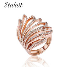Fashion Petal Wings Shape Hollow Ring Geometric Zircon Rose Gold Color Bohemian Jewelry Rings For Women Man