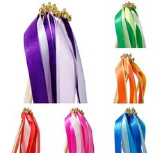 10pcs Wedding Wands Ribbon Wand Fairy Stick Ruban Baguette Wedding Ribbon Streamers Stick With Bell Marriage Decoration #A40