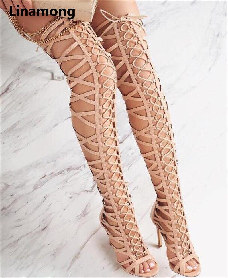 Ayakk.'ten Diz Üstü Çizmeler'de 2018 yeni moda varış ince topuk yüksek topuk çapraz bağlı peep toe saf siyah diz üzerinde uzun Içi Boş çizmeler'da  Grup 1