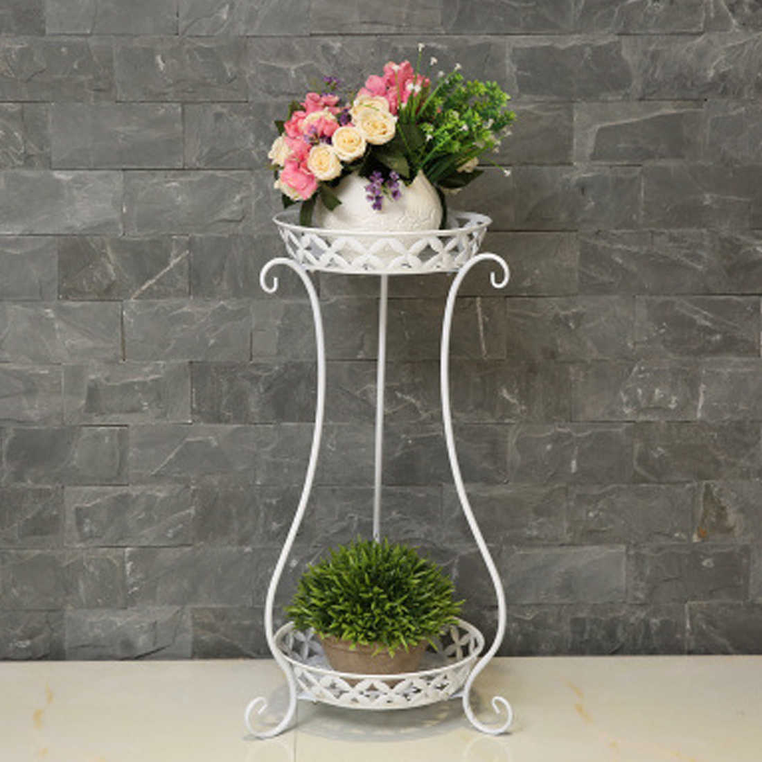 VICTMAX New European Iron Craft Double-Layer Gardening Potting Shelf Flowerpot Holder For Home Garden Decor - Vase Type 2 Colors