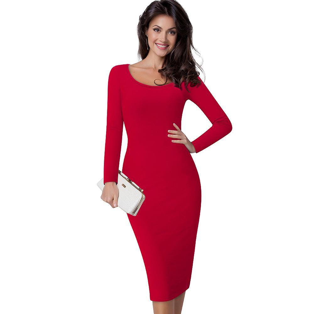 MERICAL Fancy Dress for Women Long Sleeve Dress Suit Collar with Pencil Dress