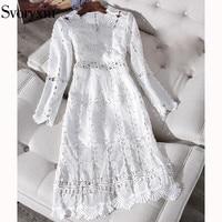 Svoryxiu Runway Summer Sexy V Neck White Dress Women's Fashion Hollow Out Embroidery Party High Waist Split Dresses Vestdios