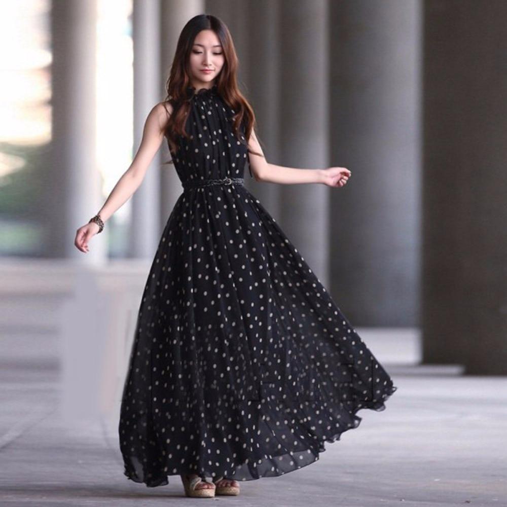 2018 Women Sexy Summer Dot Dress Boho Long Maxi Chiffon Dress Sleeveless Polka Dress y9