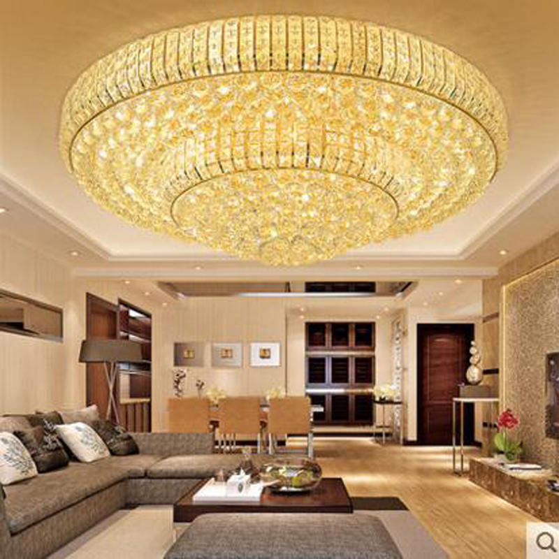 Golden round crystal ceiling lamp living room lamps LED restaurant lamp atmospheric ceiling lamps bedroom room lighting fixture цена 2017