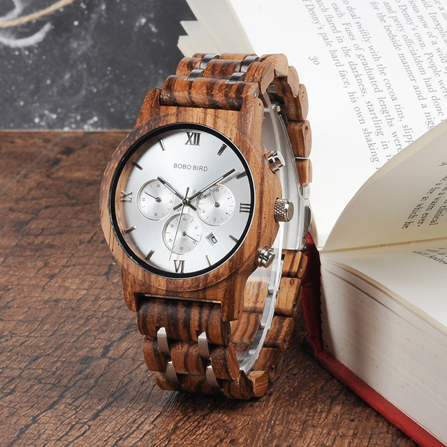 Bamboo Wooden Business Luxury Stop Watch w/ Stainless Steel Band 1