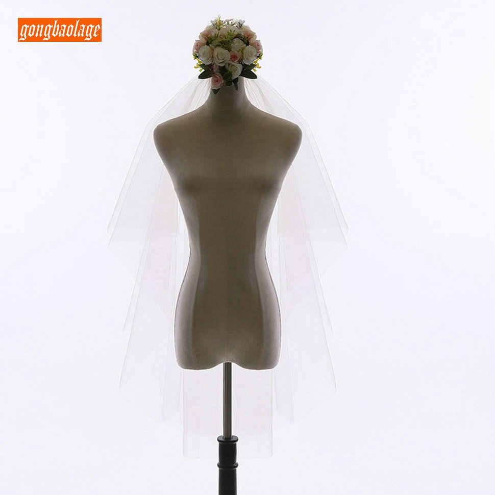 2019 nuevo velo de boda Camo corto dos capas de borde de corte velo de tul nupcial con peine codo longitud novia barata yashmac accesorios