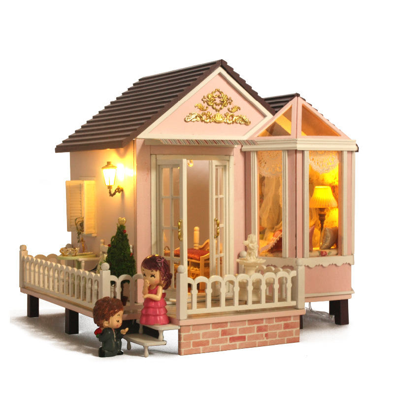 Cute Room Doll House Puppenhaus Brithday Miniature Furniture House Toys for Children Wooden House Girls Toys-Sweet Promise cute room diy house for puppenhaus brithday miniature furniture house toys for children wooden house toys sweet berries time