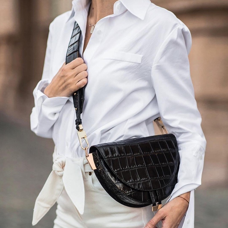 Image 2 - NIGEDU kobiety Crossbody torba moda krokodyl półkole torba siodło PU skórzane torby na ramię dla kobiece torebki projektant bolsasTorebki na ramię   -