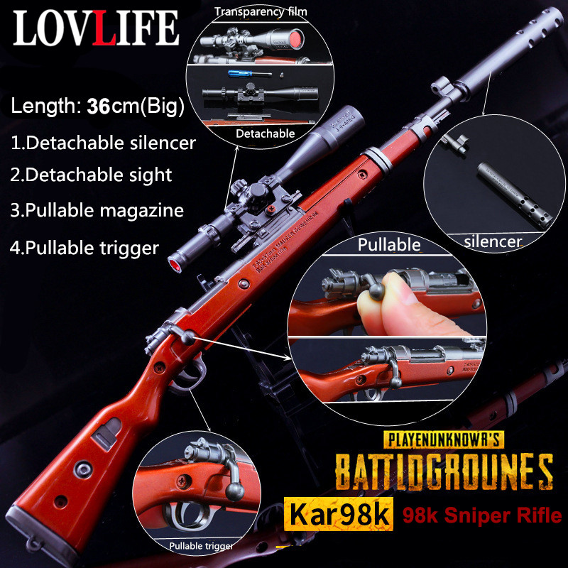 36cm Game Pubg 98k Akm Awm Gun Model Keychain Detachable