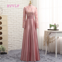 Dressgirl Pink Muslim Evening Dresses 2016 A Line Long Sleeves Satin Sequins Elegant Long Evening Gown