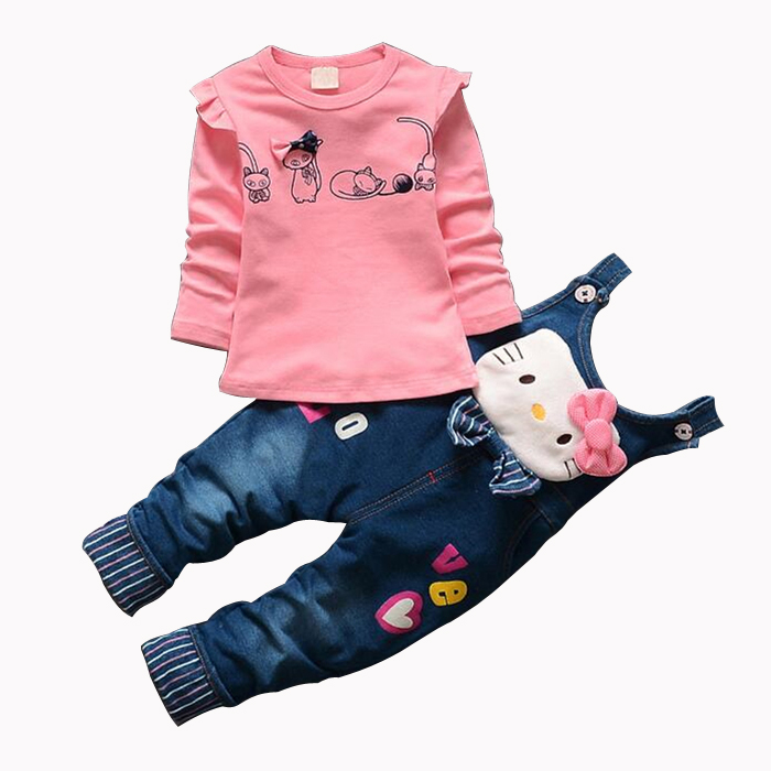 CNJiaYun Hello Kitty Girls Clothing Sets Spring Cotton Children s Suspenders Sets Full Sleeve shirt Jeans